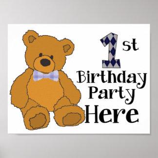 1. Geburtstags-Party-hier Plakat mit