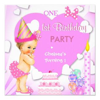 1. Geburtstags-Party-Rosa-blondes Baby-Mädchen Quadratische 13,3 Cm Einladungskarte
