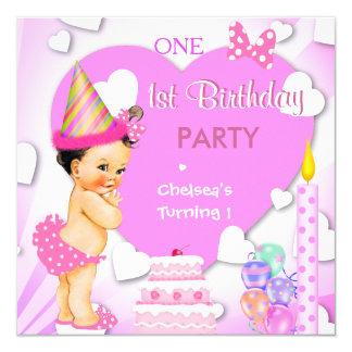 1. Geburtstags-Party-Rosa-brünettes Baby-Mädchen Quadratische 13,3 Cm Einladungskarte