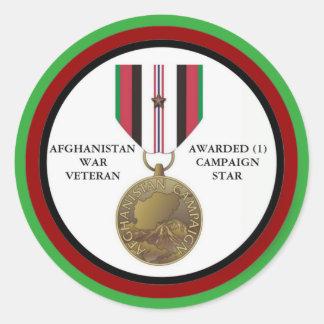 1 KAMPAGNEN-STERN-AFGHANISTAN-KRIEGSVETERAN RUNDER AUFKLEBER
