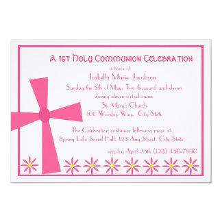 1. Kommunions-Kreuz und Blumen 12,7 X 17,8 Cm Einladungskarte