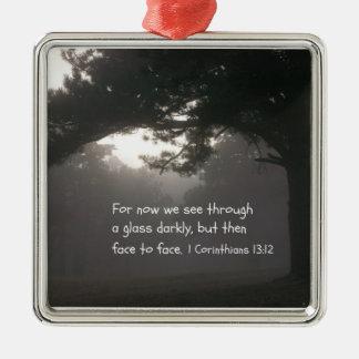 1 Korinther-13:12 Quadratisches Silberfarbenes Ornament