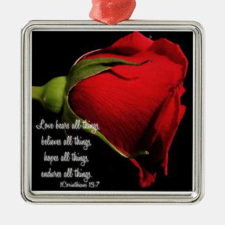 1 Korinther-13:7 Quadratisches Silberfarbenes Ornament