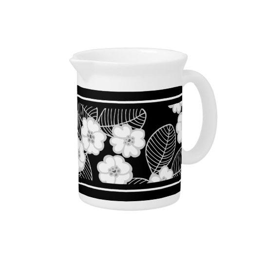 1 Krug-Damast-graues Mit BlumenSchwarz-weißes Krug