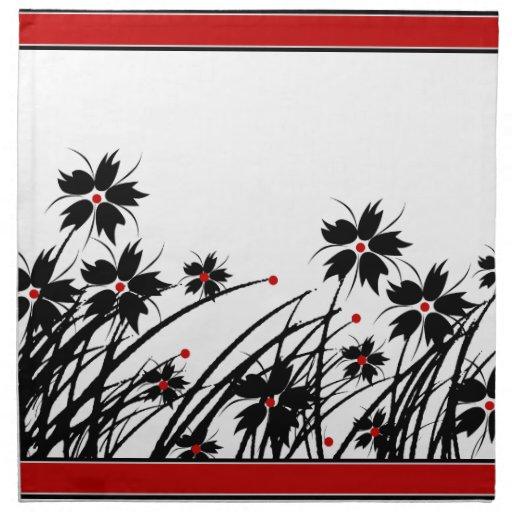 1 servietten rote schwarz wei e 2 dekor mit blumen zazzle for Weisse tapeten mit dekor