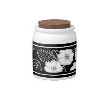 1 Süßigkeits-Glas-Damast graue Schwarz-weiße DEKOR Keksdosen