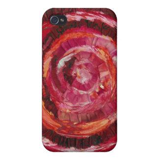 1st-Root Chakra Rot-Spirale Farbe-Gewebe #2 iPhone 4 Etui