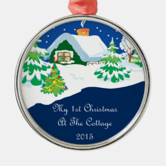 2015 mein erstes Weihnachten an der Hütte Rundes Silberfarbenes Ornament