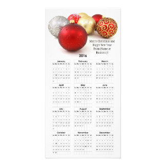 2016 Kalender-rotes Weihnachten aufgeprägtes Personalisierte Foto Karte