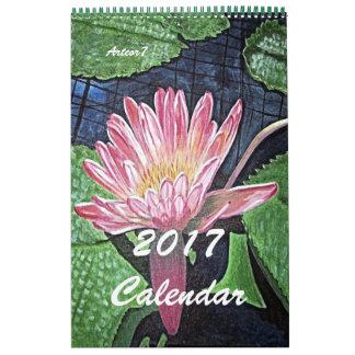 2017 Kalender-rosa Wasserlilie-Kunst-Single-Seite Kalender
