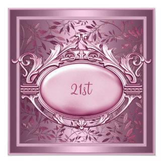 21. Geburtstags-Party-Satin-Rosa mit Blumen Quadratische 13,3 Cm Einladungskarte