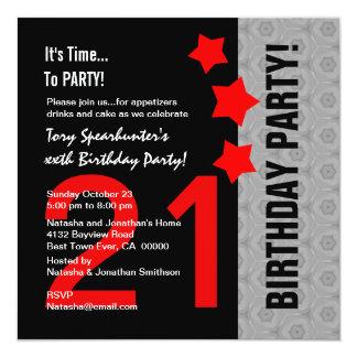 21. Roter Stern des Geburtstags-moderner roter Quadratische 13,3 Cm Einladungskarte