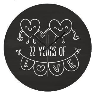 22. Jahrestags-Geschenk-Kreide-Herzen Uhren