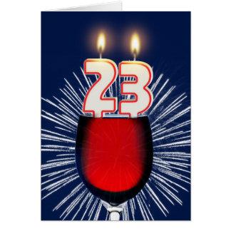 23. Geburtstag mit Wein und Kerzen Karte