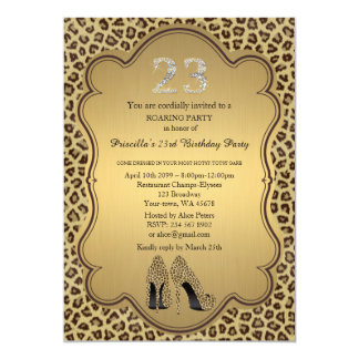 23rdBirthday Party, 23., Cheetah-hohe Heels-Schuhe Karte