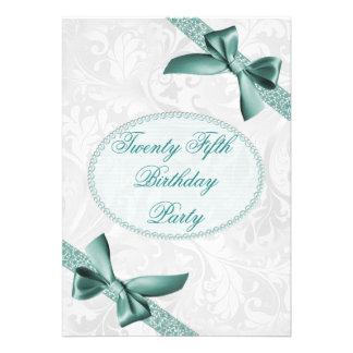 25. Damast und Bogen-Geburtstags-Party Personalisierte Einladungskarten