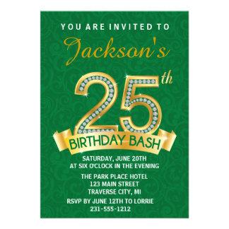 25 Diamant-Geburtstags-Einladungs-Meilenstein Personalisierte Einladungen