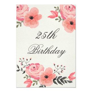 25. GeburtstagChicwatercolor-Blumen 12,7 X 17,8 Cm Einladungskarte