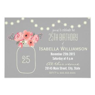 25. Geburtstagrosa Watercolor-Blumen u. 8,9 X 12,7 Cm Einladungskarte
