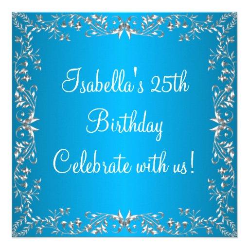 25. Geburtstags-blaues u. silbernes Blumenmetall Personalisierte Ankündigung