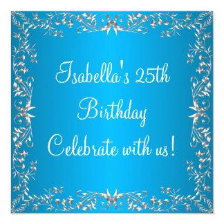25. Geburtstags-blaues u. silbernes Blumenmetall Quadratische 13,3 Cm Einladungskarte