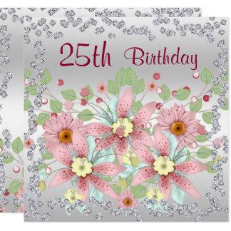 25. Geburtstags-Blumenanzeige u. Diamanten Quadratische 13,3 Cm Einladungskarte