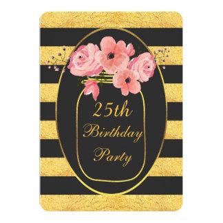 25. Geburtstags-BlumenWeckglas-Goldstreifen 12,7 X 17,8 Cm Einladungskarte