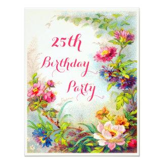 25. Geburtstags-Dahlie-und 10,8 X 14 Cm Einladungskarte