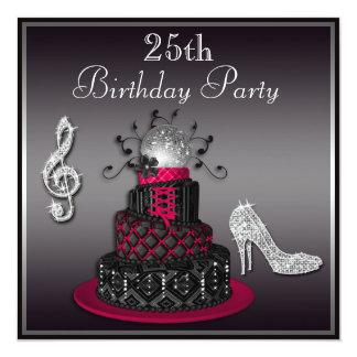 25. Geburtstags-Disco-Diva-Kuchen und Heels-heißes Quadratische 13,3 Cm Einladungskarte