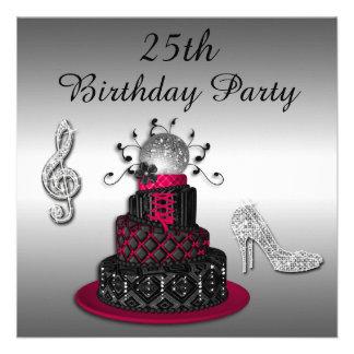 25. Geburtstags-Disco-Diva-Kuchen-und Schein-Heels Personalisierte Einladung