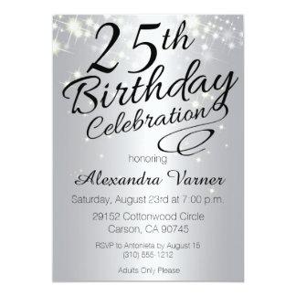 25. Geburtstags-Einladungen - silbernes funkelnd 12,7 X 17,8 Cm Einladungskarte