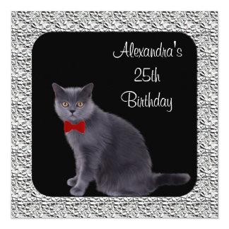 25. Geburtstags-formaler grauer Katzen-u. Quadratische 13,3 Cm Einladungskarte