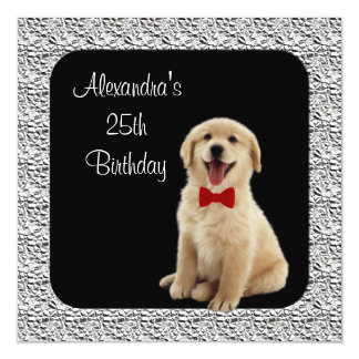 25. Geburtstags-golden retriever u. silberner Quadratische 13,3 Cm Einladungskarte
