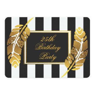 25. Geburtstags-Goldfeder-Schwarz-weiße Streifen 12,7 X 17,8 Cm Einladungskarte