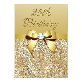25. Geburtstags-GoldImitat-Sequins und Bogen 12,7 X 17,8 Cm Einladungskarte