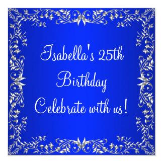 25. Geburtstags-Kobalt-Blau u. silbernes Quadratische 13,3 Cm Einladungskarte