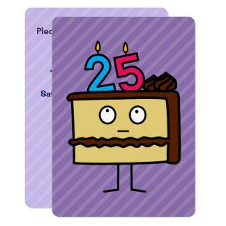 25. Geburtstags-Kuchen mit Kerzen 12,7 X 17,8 Cm Einladungskarte