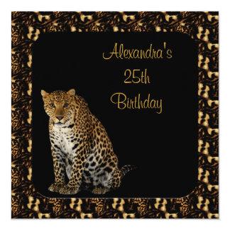 25. Geburtstags-Leopard mit Tierdruck-Rahmen Quadratische 13,3 Cm Einladungskarte