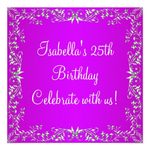 25. Geburtstags-lila u. silbernes Blumenmetall Individuelle Ankündigskarten