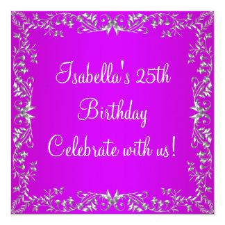 25. Geburtstags-lila u. silbernes Blumenmetall Quadratische 13,3 Cm Einladungskarte