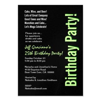25. Geburtstags-moderne schwarze Limone grüne 12,7 X 17,8 Cm Einladungskarte