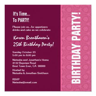 25. Geburtstags-moderner Wein und rosa Muster Quadratische 13,3 Cm Einladungskarte