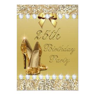 25. Geburtstags-noble GoldHeelssequins-Diamanten 12,7 X 17,8 Cm Einladungskarte