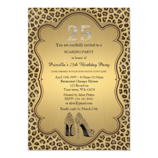 25., Geburtstags-Party, 25., Cheetah-hohe 12,7 X 17,8 Cm Einladungskarte
