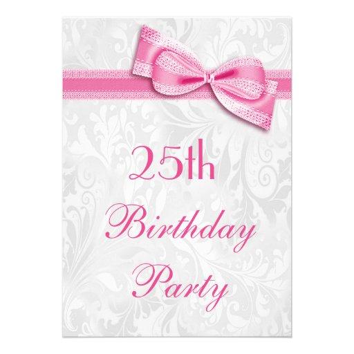 25. Geburtstags-Party-Damast und rosa Imitat-Bogen Individuelle Ankündigungskarte