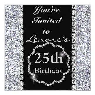 25. Geburtstags-Party Einladung DIAMANTEN u.
