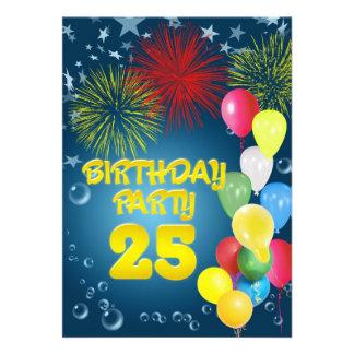 25 Geburtstags-Party Einladung mit Ballonen