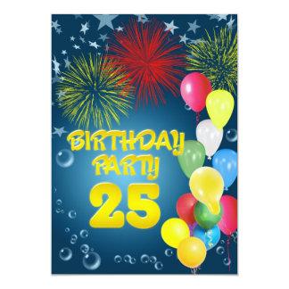 25. Geburtstags-Party Einladung mit Ballonen