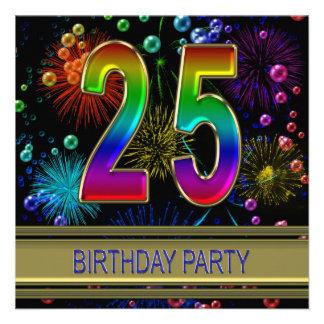 25 Geburtstags-Party Einladung mit Blasen