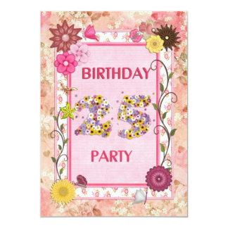 25. Geburtstags-Party Einladung mit Blumenrahmen